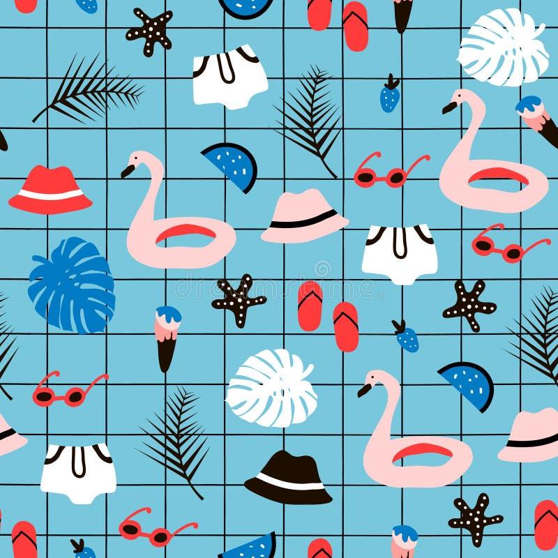 Naadloos patroon met de zomerelementen Creatieve textuur met palm, flamingo zwemmende cirkel, hoed, zonnebril royalty-vrije illustratie