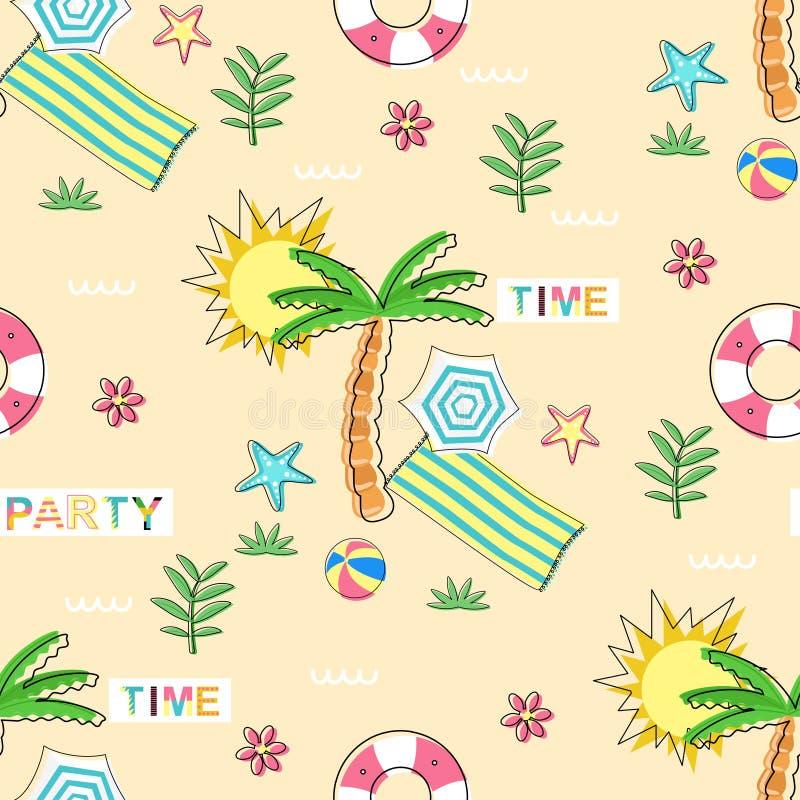 Naadloos patroon met de zomerelementen op zandachtergrond - vectorillustratie, eps vector illustratie