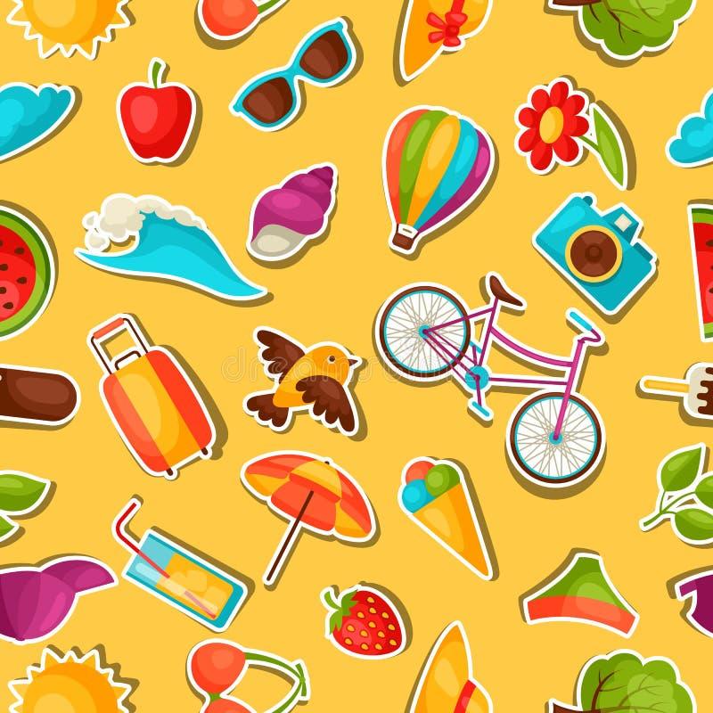 Naadloos patroon met de zomerstickers Achtergrond zonder masker wordt gemaakt te knippen dat Makkelijk te gebruiken voor achtergr vector illustratie