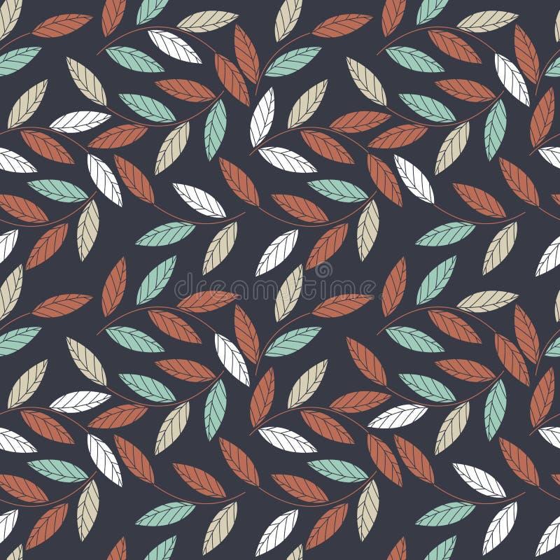 Naadloos patroon met decoratieve die bladeren op blauwe backgro wordt geïsoleerd royalty-vrije illustratie