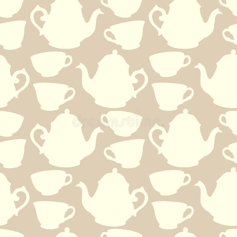 Naadloos patroon met decoratieve koppen en theepotten vector illustratie