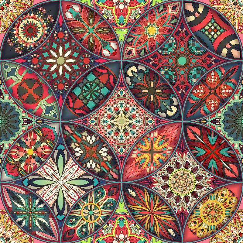 Naadloos patroon met decoratieve mandalas Uitstekende mandalaelementen stock foto