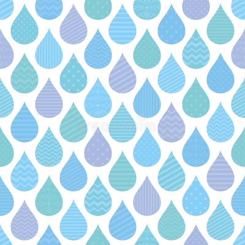 Naadloos patroon met decoratieve regendruppels. stock illustratie