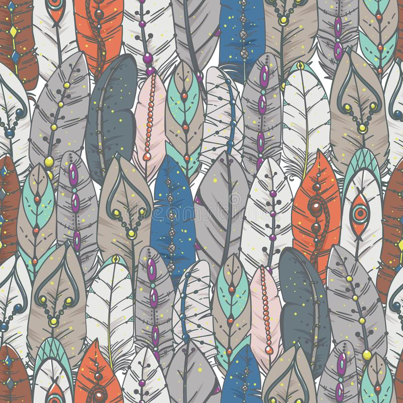 Naadloos patroon met decoratieve veren stock illustratie