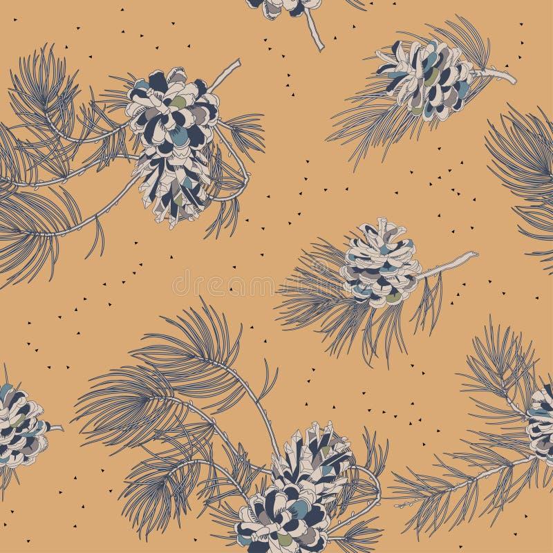 Naadloos patroon met denneappels Realistisch kijk vector illustratie