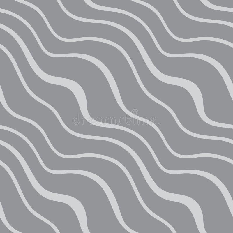 Naadloos patroon met diagonale golven op grijze achtergrond vector illustratie