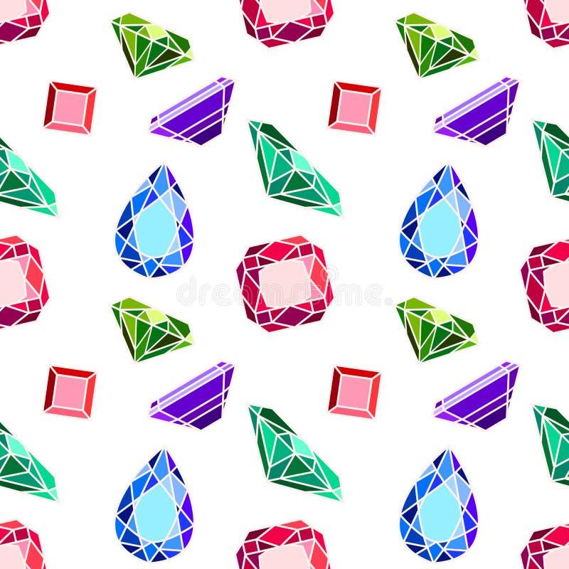 Naadloos patroon met diamanten stock illustratie