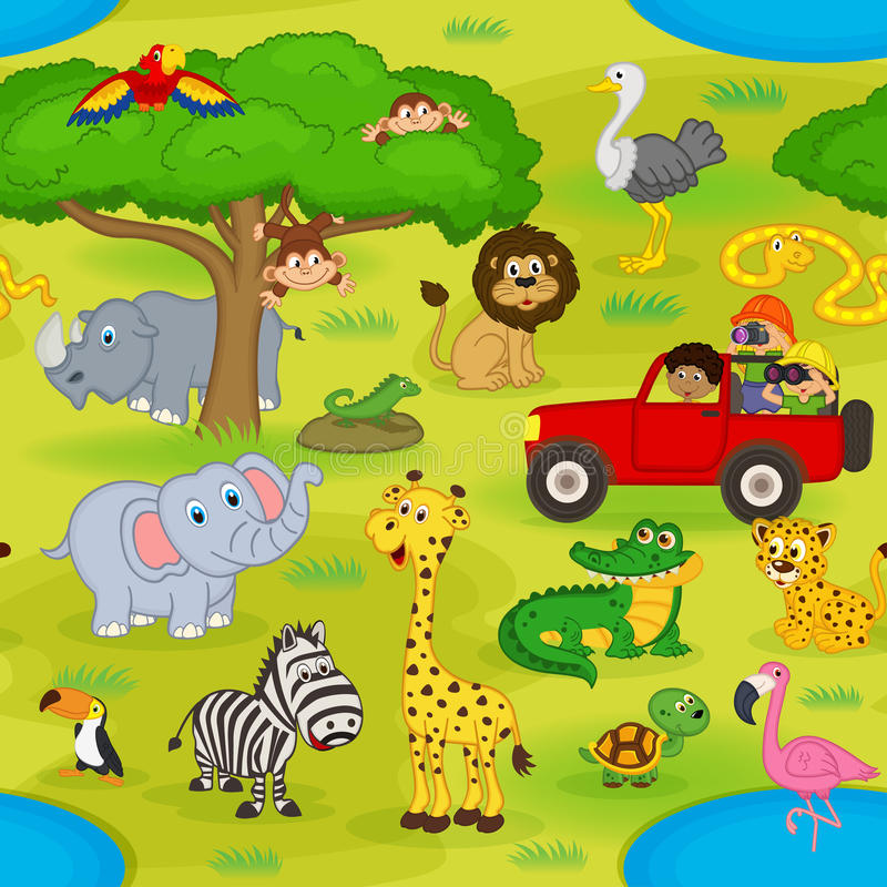 Naadloos patroon met dieren in safari stock illustratie