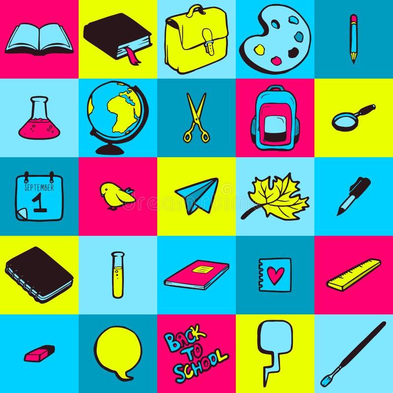 Naadloos patroon met diverse hand getrokken schoolpictogrammen vector illustratie
