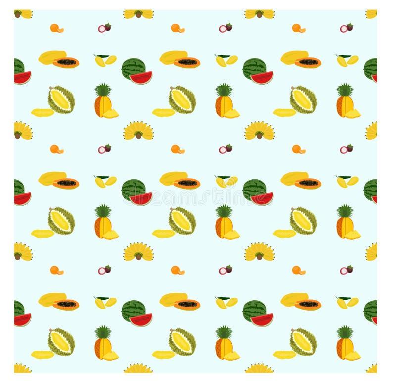 Naadloos patroon met diverse soorten vruchten op blauwe achtergrond royalty-vrije illustratie