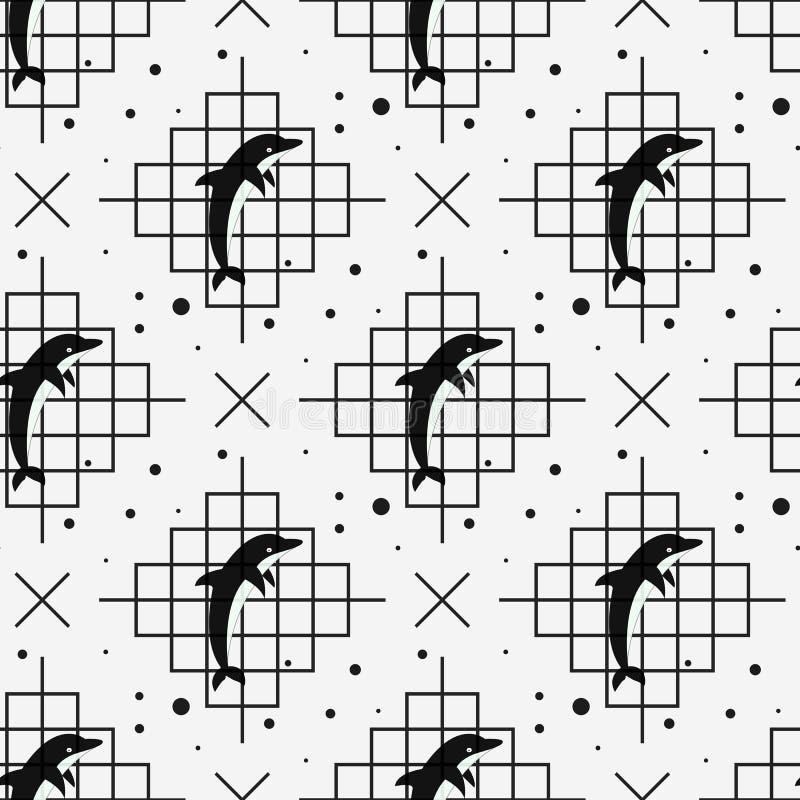 Naadloos patroon met dolfijn Vector illustratie vector illustratie