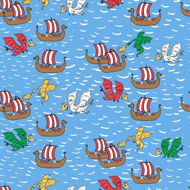 Naadloos patroon met draak die de schepen van Viking aanvallen royalty-vrije illustratie