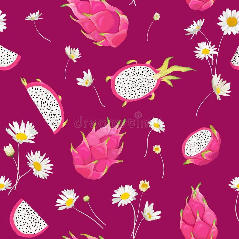 Naadloos patroon met draakvruchten, pitayaachtergrond Hand getrokken vectorillustratie in waterverfstijl voor de zomerdekking royalty-vrije illustratie