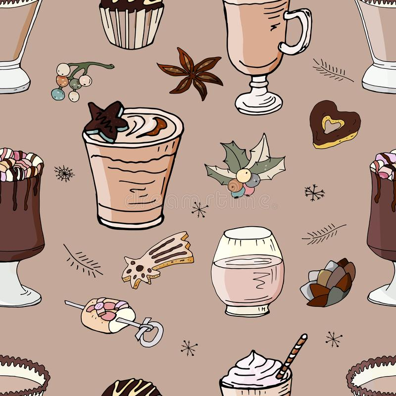 Naadloos patroon met dranken stock illustratie