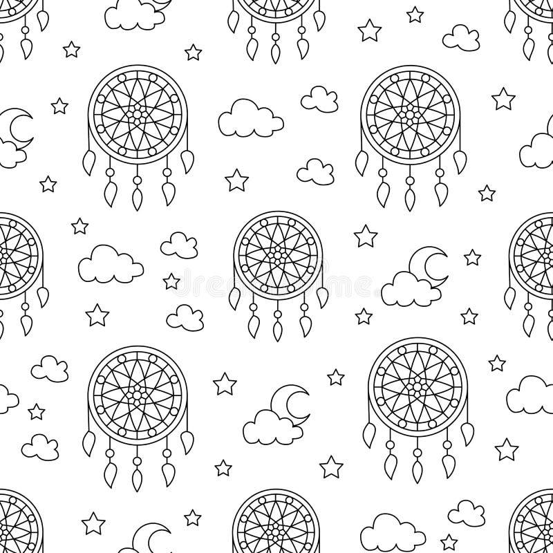 Naadloos patroon met droomvangers Elementen - dreamcatcher, ster, maan Vector illustratie Leuke herhaalde textuur royalty-vrije illustratie