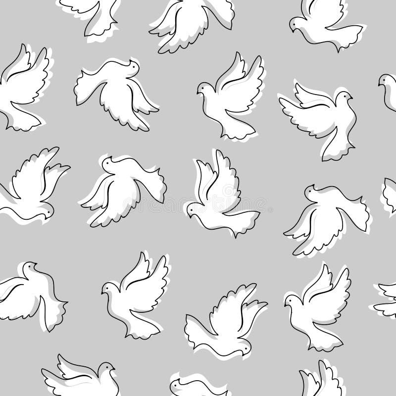 Naadloos patroon met duiven voor ontwerp en decoratie royalty-vrije illustratie