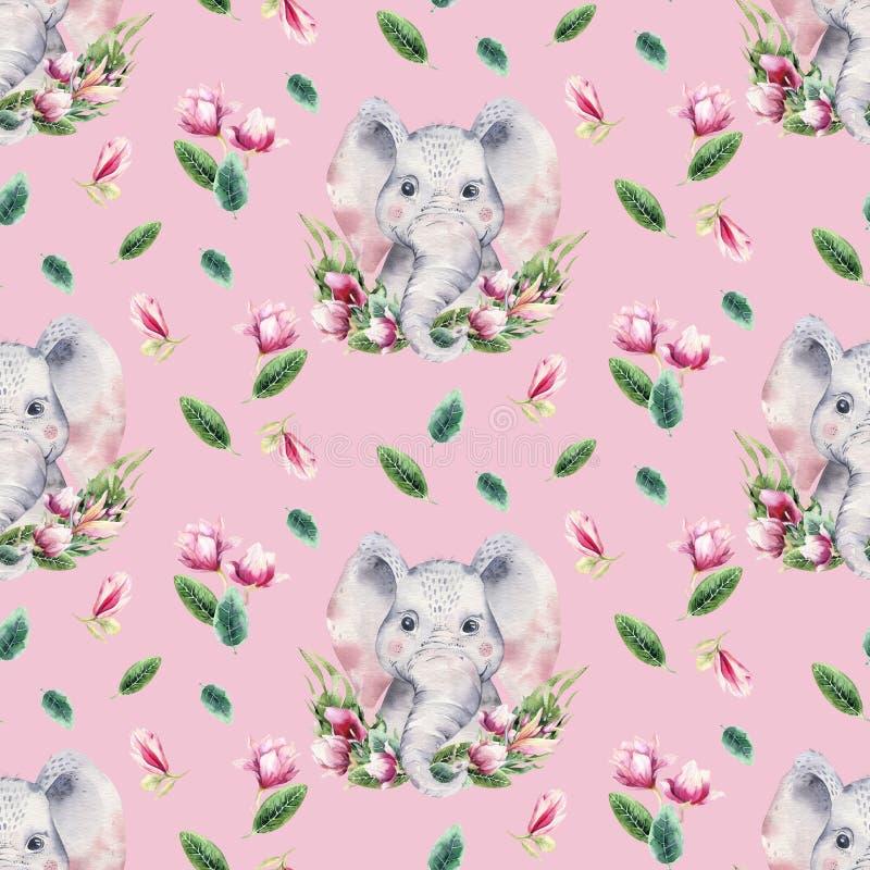 Naadloos patroon met een babyolifant de olifants tropische dierlijke illustratie van het achtergrondwaterverfbeeldverhaal wildern stock illustratie