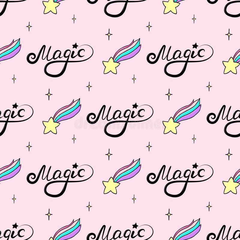 Naadloos patroon met een hand het getrokken Magische vallende ster en van letters voorzien stock illustratie