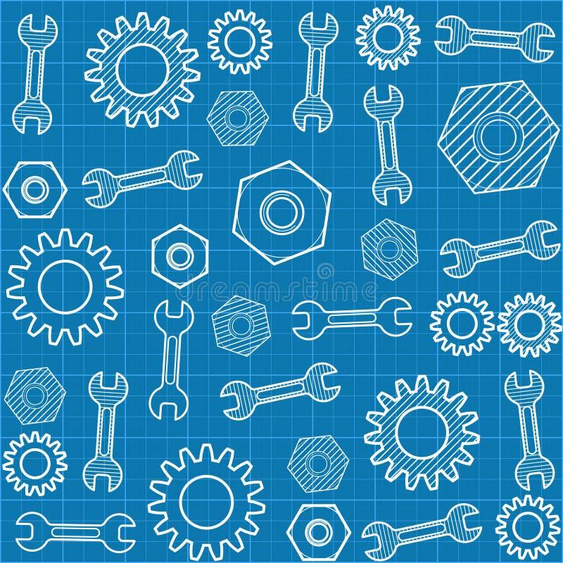 Naadloos patroon met een moersleutel en toestellen vector illustratie