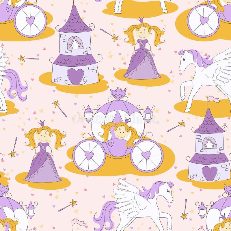 Naadloos patroon met een prinses vector illustratie
