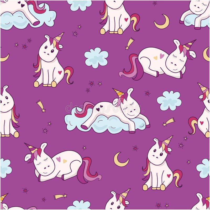 Naadloos patroon met eenhoorn, maan en sterren Leuke en mooie achtergrond Vector illustratie Abstracte achtergrond voor meisjes stock illustratie
