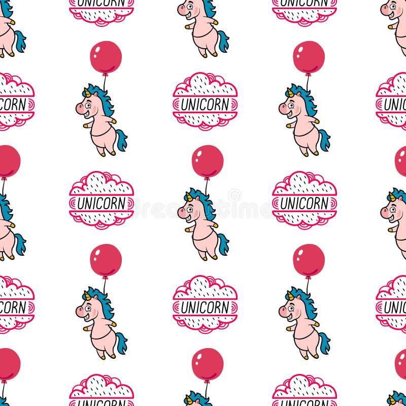 Naadloos patroon met eenhoorn, wolken, ballons en het van letters voorzien op witte achtergrond stock illustratie