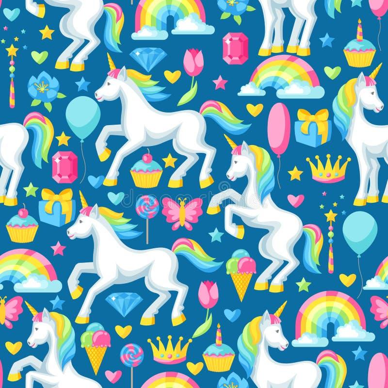 Naadloos patroon met eenhoorns en fantasiepunten royalty-vrije illustratie