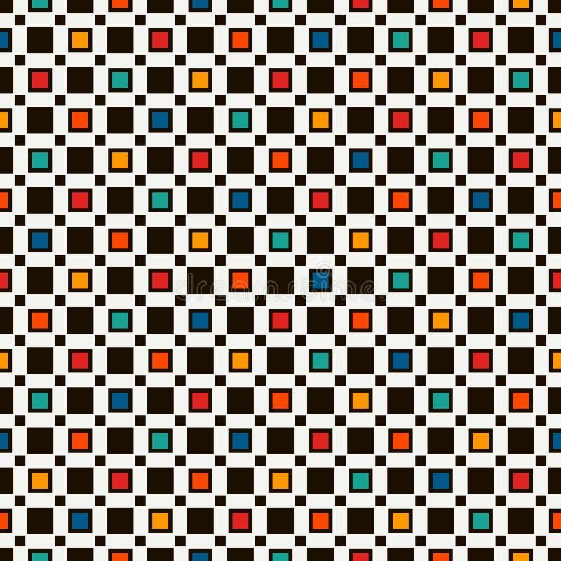 Naadloos patroon met eenvoudig geometrisch ornament Herhaalde vierkanten abstracte achtergrond Eigentijdse oppervlaktetextuur royalty-vrije illustratie