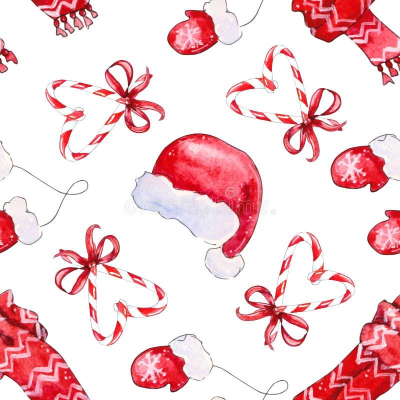Naadloos patroon met elementen rode hoed, sjaal, vuisthandschoenen vector illustratie