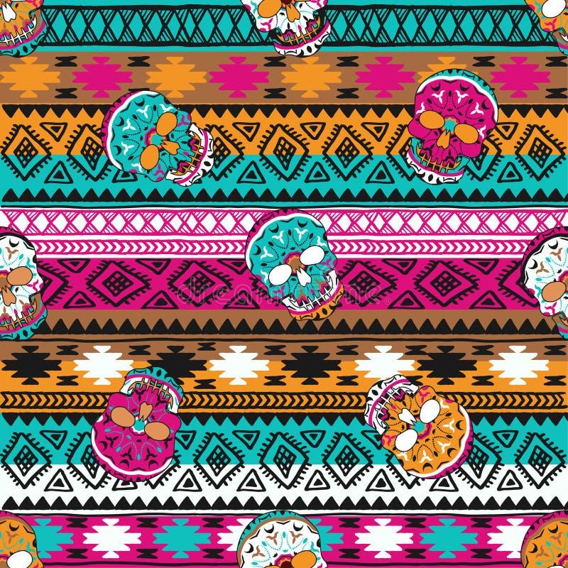 Naadloos patroon met elementen van de schedel Boho etnische banden Stammenstijlontwerp royalty-vrije illustratie