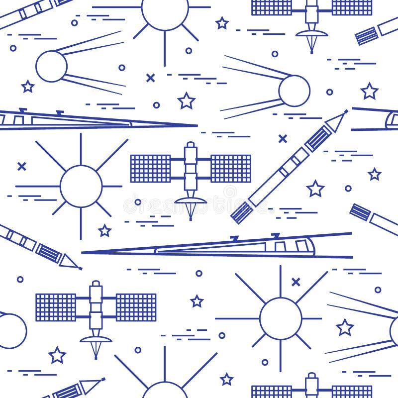 Naadloos patroon met elementen van de verscheidenheids de ruimteexploratie royalty-vrije illustratie