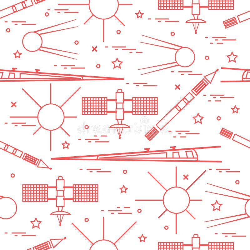 Naadloos patroon met elementen van de verscheidenheids de ruimteexploratie vector illustratie