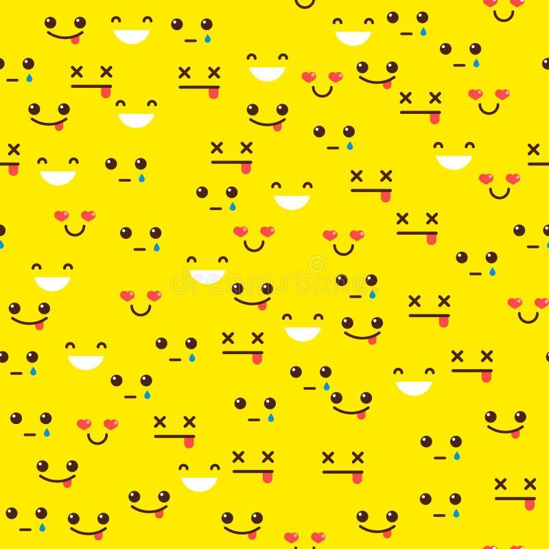 Naadloos patroon met emoties stock illustratie