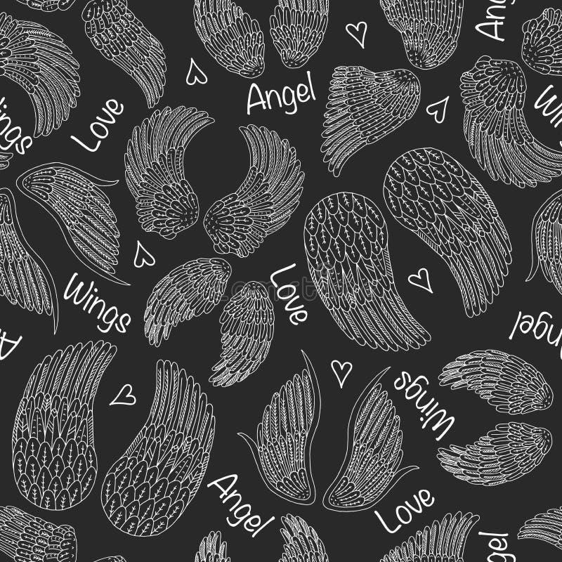 Naadloos patroon met engelenvleugels stock illustratie