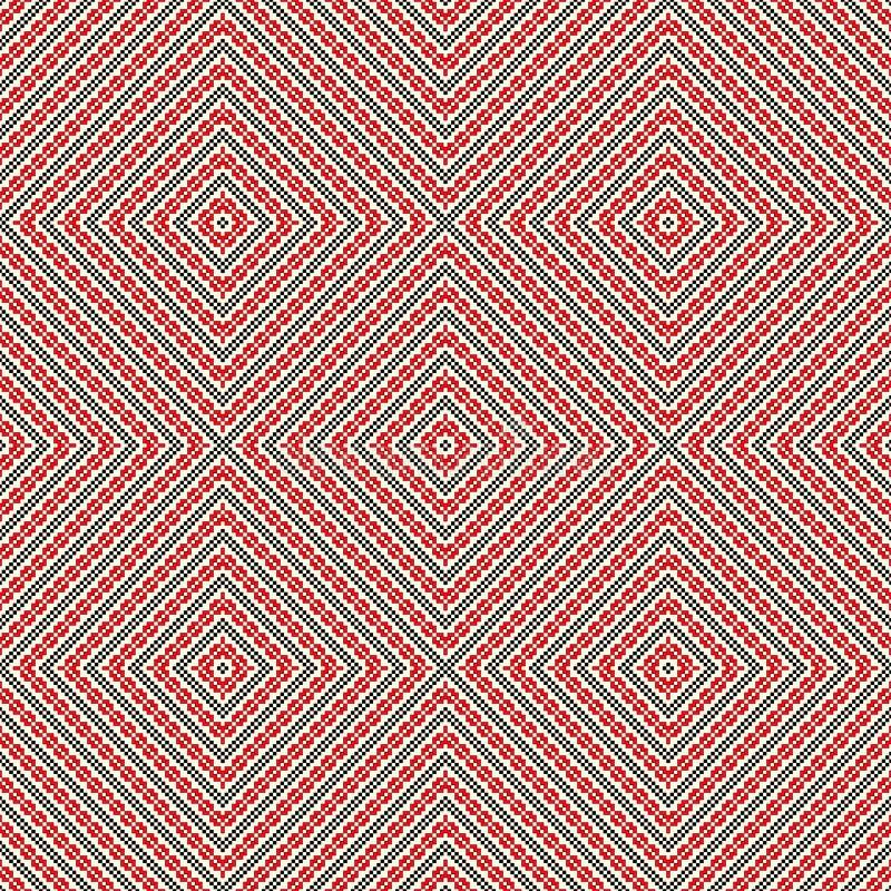 Naadloos patroon met etnisch geometrisch abstract ornament De dwarsmotieven van het steek slavic borduurwerk vector illustratie