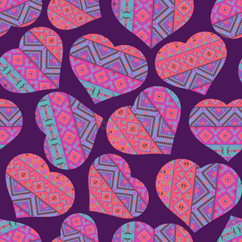 Naadloos patroon met etnische stijlharten stock illustratie
