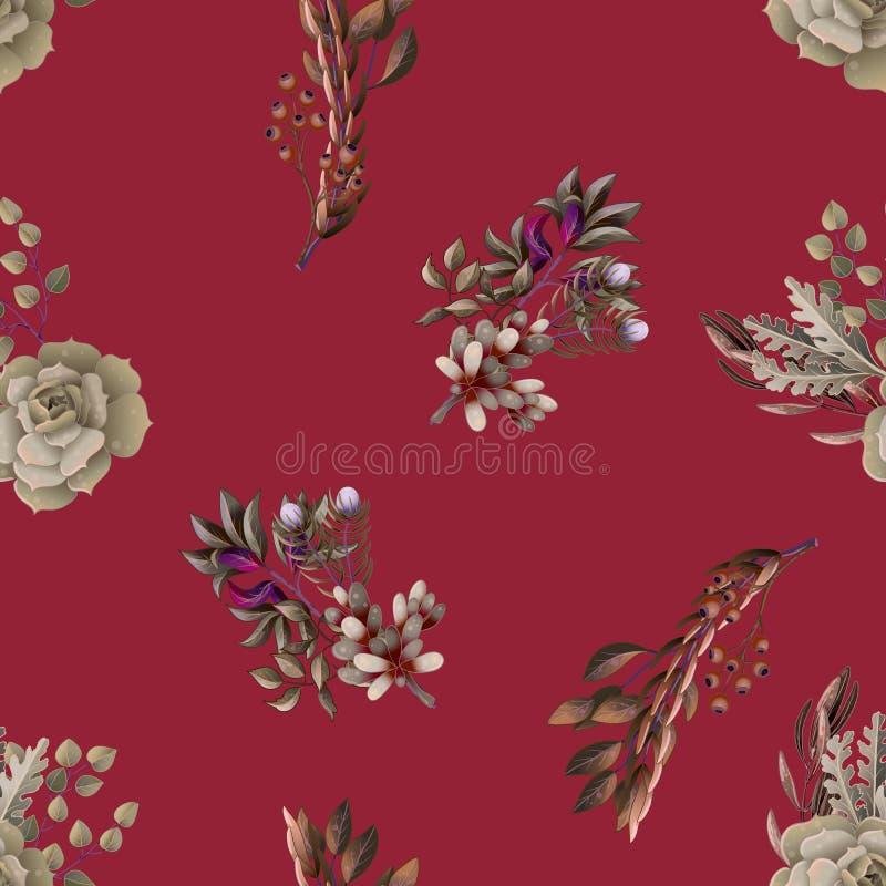 Naadloos patroon met eucalyptus, magnolia, varenbladeren en succulents boeketten In rustiek kruid vectorachtergrond stock illustratie