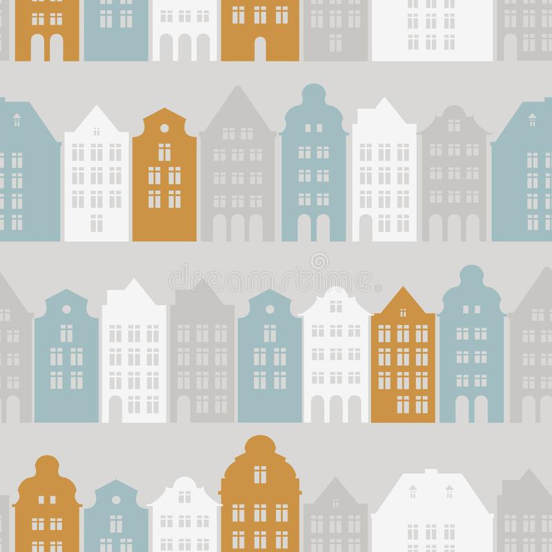 Naadloos patroon met Europese woonhuizen en straten Historische architectuur Stadstoerisme stock illustratie