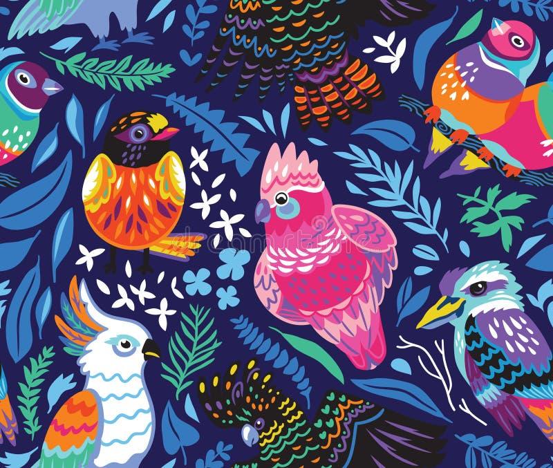 Naadloos patroon met exotische Australische vogels en tropische bladeren op marineblauwe achtergrond royalty-vrije illustratie