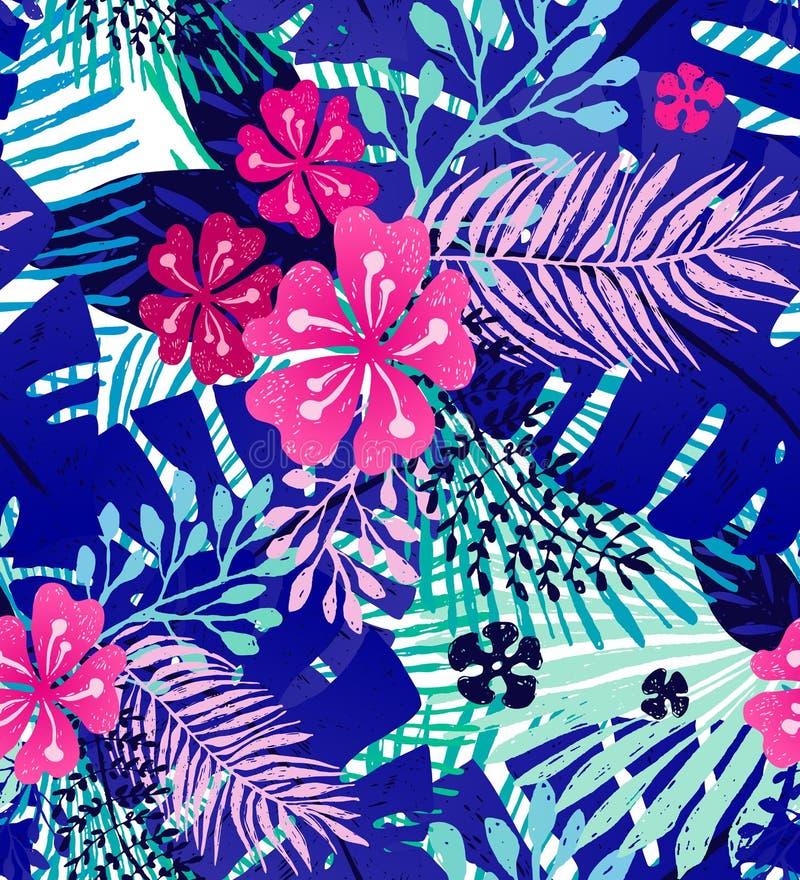 Naadloos in patroon met exotische palmbladen en Hibiscus Vector botanische illustratie, ontwerpelement voor stock illustratie