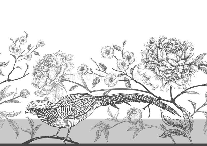 Naadloos patroon met exotische vogelfazanten en pioenbloemen stock illustratie