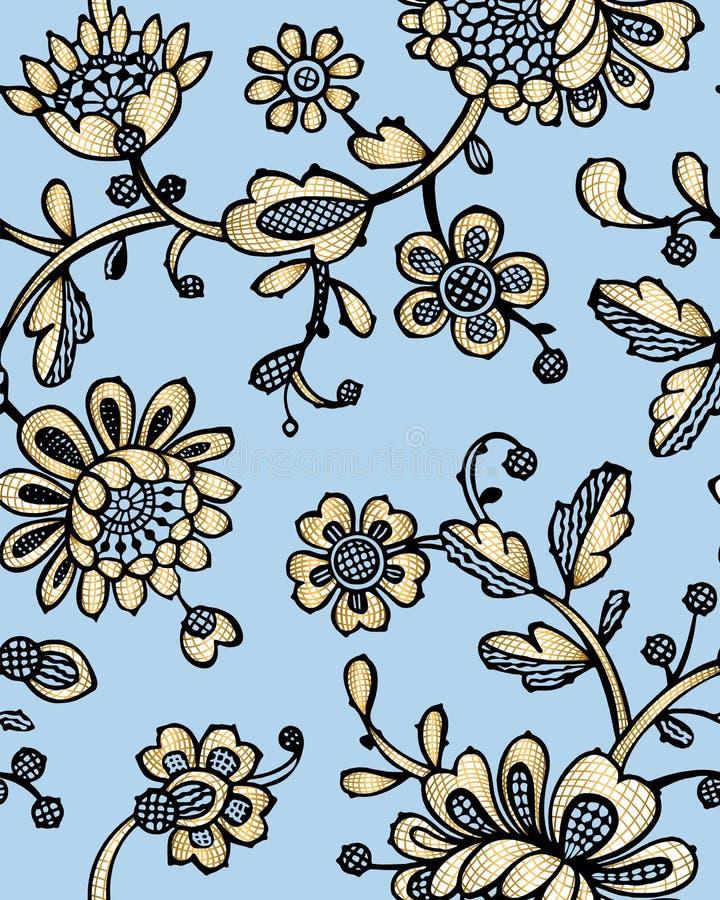 Naadloos patroon met fantasiebloemen Vector abstract naadloos bloemenpatroon Lasepatroon Het malplaatje kan voor behang worden ge royalty-vrije stock fotografie