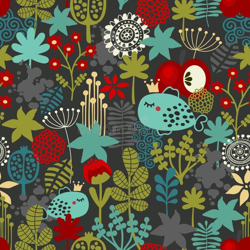 Download Naadloos Patroon Met Fantastische Flora En Vissen. Vector Illustratie - Illustratie bestaande uit illustratie, gras: 39105836