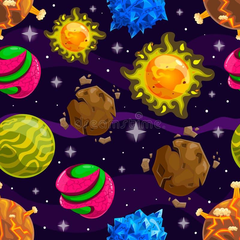 Naadloos patroon met fantazy beeldverhaalplaneet vector illustratie