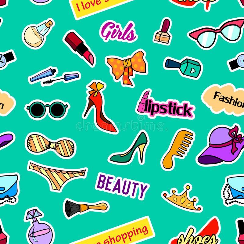 Naadloos patroon met flardkentekens Pop-art Vectorstickers als achtergrond, spelden, flarden in beeldverhaal jaren '80-jaren '90  royalty-vrije illustratie