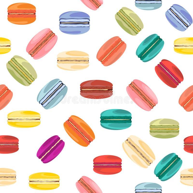 Naadloos patroon met Franse zoete makarons stock illustratie