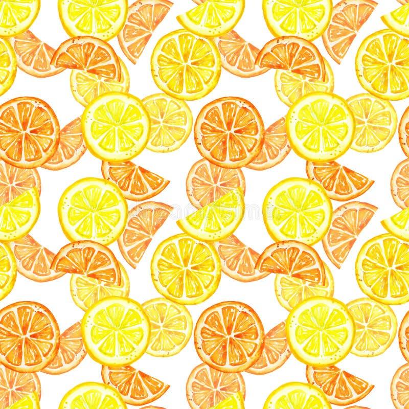Naadloos patroon met geïsoleerde de citroenvruchten van de waterverfzomer Citrusvruchtenplak, citroen, sinaasappel, die op witte  stock afbeeldingen