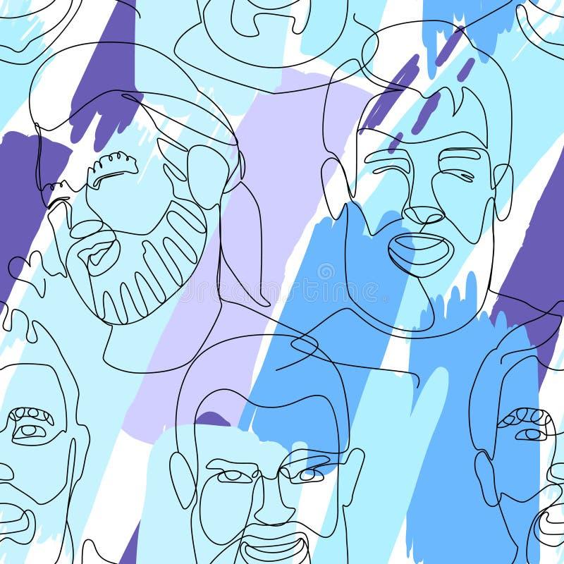 Naadloos Patroon met Gebaard Mensenportret Één Lijnart. Mannelijke Gelaatsuitdrukking Hand Getrokken Lineair Mensensilhouet stock illustratie