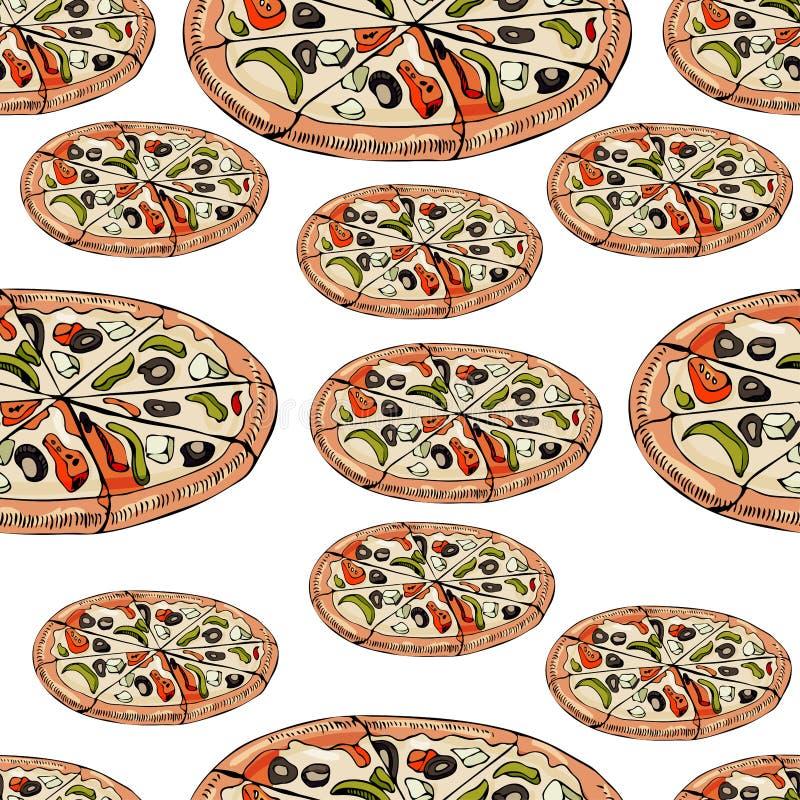 Naadloos patroon met gehele die pizza op witte achtergrond wordt geïsoleerd Hand getrokken inkt en gekleurde schets vector illustratie