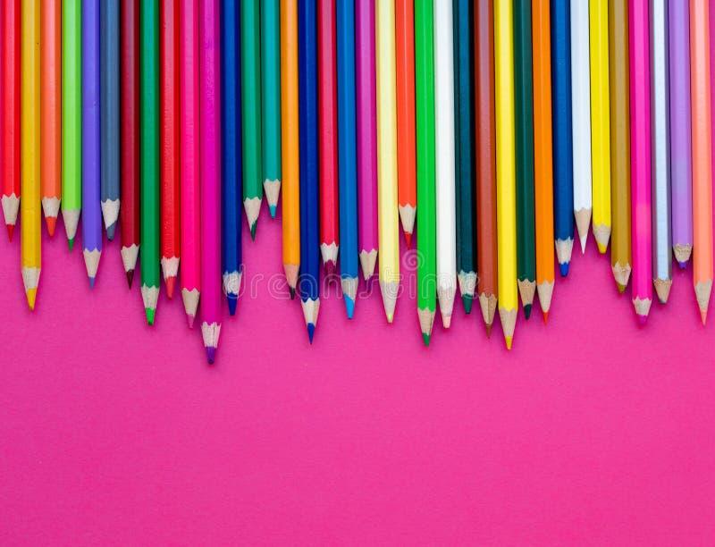 Naadloos patroon met gekleurd pensils MultiColored potloden binnen stock foto's